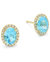 Meira T - Blue Topaz, Diamond And 14k Yellow Gold Stud Earrings - Lyst