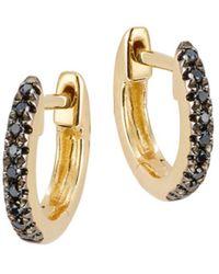 Saks Fifth Avenue 14k Yellow Gold & Black Diamond Huggie Hoop Earrings - Metallic
