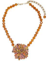 Heidi Daus Multicolor Rhinestone Beaded Flower Pendant Necklace