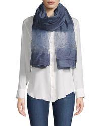 Saachi Star Gazer Silk & Wool Scarf - Blue