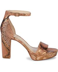 Vince Camuto Snakeskin-print Leather Ankle-strap Sandals - Brown