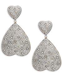 Artisan 14k Gold, 925 Sterling Silver & Diamond Heart Drop Earrings - Metallic