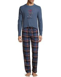 Lucky Brand - Two-piece Cotton-blend Tee & Cotton Trousers Pyjama Set - Lyst