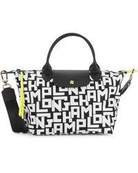 Longchamp Le Pliage Medium Lgp Nylon Short Handle Tote - Black