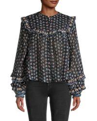 Free People Women's Printed Cotton Blouse - Night Combo - Size Xs - Black