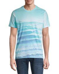 Sol Angeles Men's Printed Crewneck T-shirt - Cloud - Size S - Blue