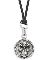 King Baby Studio Sterling Silver Baroque Skull Coin Pendant Necklace - Metallic