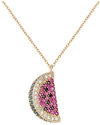 49180cb32 Gabi Rielle - Watermelon Green, Black, White & Ruby Crystal Pendant  Necklace - Lyst