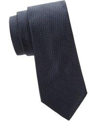 Saks Fifth Avenue Herringbone Silk Tie - Blue