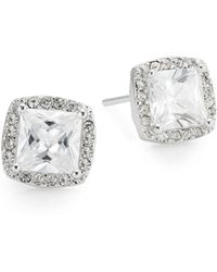 Saks Fifth Avenue - Pavé Halo Square Stud Earrings - Lyst