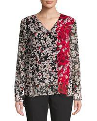 Calvin Klein Floral-print V-neck Top - Multicolour