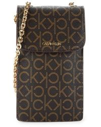 Calvin Klein Haley Monogram Crossbody Phone Bag - Brown