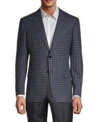 Armani Men's Standard-fit Check Wool-blend Jacket - Blue - Size 50 (40) R