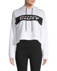 DKNY Women's Cropped Logo Hoodie - White - Size Xl
