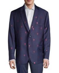 Robert Graham Men's Skull Tailored-fit Wool-blend Jacket - Navy Pink - Size 48 R - Blue