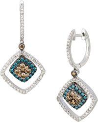 Le Vian Exotics® 14k Vanilla Gold®, Chocolate Diamonds®, Iced Blue Diamonds®, & Vanilla Diamonds® Earrings