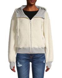 Marc New York Reversible Stretch-cotton & Faux Fur Hoodie - White