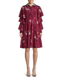 Valentino Floral-print Tiered-sleeve Crepe Dress
