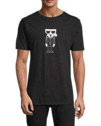 Karl Lagerfeld Men's Graphic Cotton Tee - Black - Size Xxl