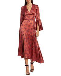 Cinq À Sept Kasha Firecracker Print Asymmetric Silk Dress - Red