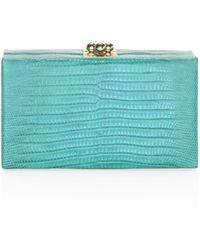 Edie Parker Jean Lizard Box Clutch - Blue