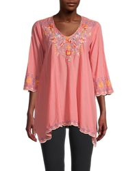 Johnny Was Women's Rosetta Cotton Tunic Top - Passion Fruit - Size Xs - Pink