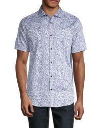 Karl Lagerfeld Men's Broken Stripe Regular-fit Shirt - White - Size S