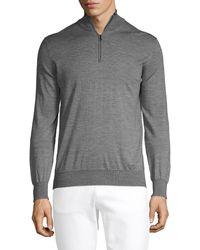 Saks Fifth Avenue Wool & Silk-blend Zip Jumper - Grey