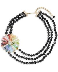 Heidi Daus Rhinestone & Crystal Three-stand Beaded Colour Wheel Necklace - Multicolour
