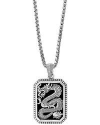 Effy Onxy & Sterling Silver Dragon Pendant Necklace - Metallic