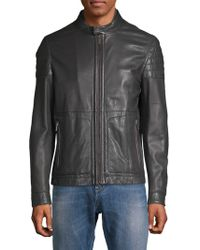 BOSS - Racer Leather Jacket - Lyst