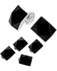 Jan Leslie 6-piece Sterling Silver Diamond Cut Onyx Rectangle Cufflinks & Stud Set - Black