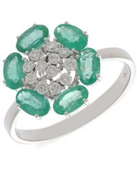 Hueb Women's Bestow 18k White Gold, Emerald & Diamond Flower Ring - Size 7 - Green