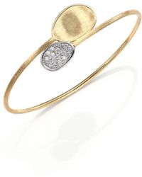 Marco Bicego - Lunaria Diamond & 18k Yellow Gold Bypass Bangle Bracelet - Lyst
