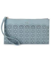 Furla Women's Italia Leather Envelope Wristlet Card Case - Avio - Blue