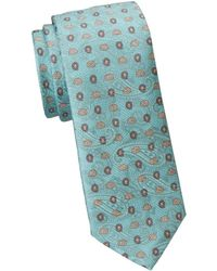 Saks Fifth Avenue Collection Paisley Print Silk Tie - Blue