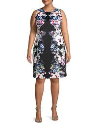 ABS By Allen Schwartz Plus Floral-print Sheath Dress - Black
