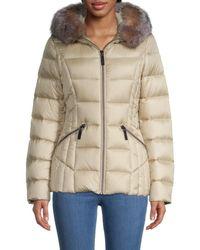 Dawn Levy Nikki Fox Fur-trim Puffer Jacket - Metallic