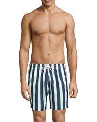 Trunks Surf & Swim Men's Cuts Sano Striped Swim Trunks - Marine - Size L - Blue