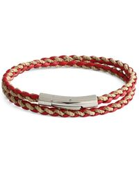 Tateossian Men's Stainless Steel & Leather Braided Wrap Bracelet - Red