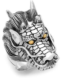 Effy - 18k Yellow Gold And Sterling Silver Dragon Ring - Lyst