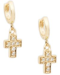 Danni Women's 14k Yellow Gold & Diamond Cross Drop Earrings - Metallic