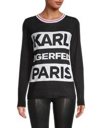Karl Lagerfeld Contrast-striped Logo Sweater - Black