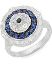 Judith Ripka - La Petite Sterling Silver, Black Sapphire, Blue Sapphire & White Topaz Ring - Lyst