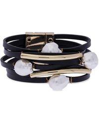 Saachi Goldplated, Leather & 13mm White Baroque Pearl Multi-strand Bracelet - Multicolour