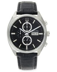 Bulova Stainless Steel Chronograph Leather-strap Watch - Black