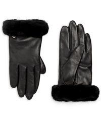 UGG Shorty Shearling-cuff Leather Gloves - Black