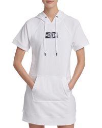 DKNY Short-sleeve Drawstring Hoodie Sneaker Dress - White