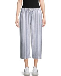 Beach Lunch Lounge Striped Wide Cropped Trousers - Blue