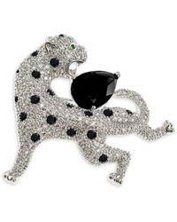 CZ by Kenneth Jay Lane Women's Animal Trend Rhodium-plated & Cubic Zirconia Pin - Metallic